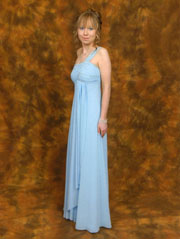 Kimberley from Sheffield in her light blue prom dress